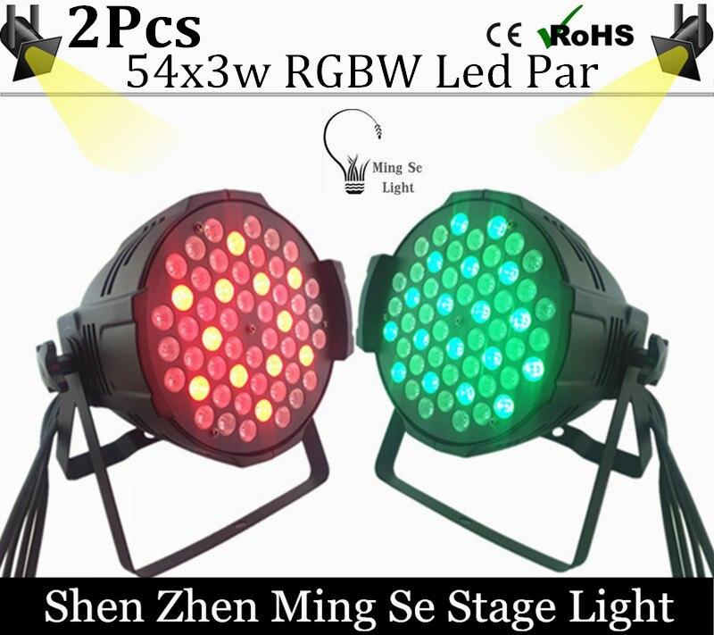 2Pcs /Lots 54X3W RGBW LED Par Light  R12 G18 B18 W6 LED PAR DMX512 controller led lights, disco lights DJ equipment