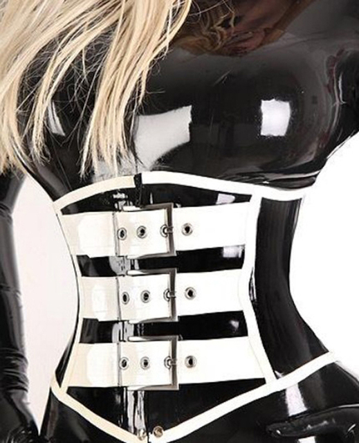 women black with white trim latex corset underbust waist cincher bustier gummi 1mm plus size hot sale Customize service