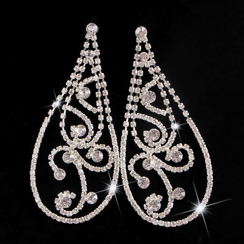 Fashion Charm Rhinestone Earrings Elegant Bridal Wedding Accessories Valentine s Day Gif ...
