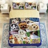 13 видов стилей Роскошный Симпатичные 3D с принтом собаки Постельные принадлежности Твин Полный Queen Размеры 3D животного Постельное бельё