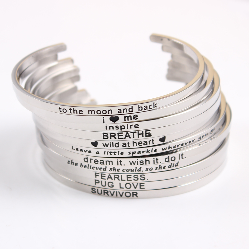 10pcs lot New Stainless Steel Engraved Positive Inspirational Quote fashion Cuff Mantra Bracelet Bangle For Women Best Gift in Bangles from Jewelry Accessories