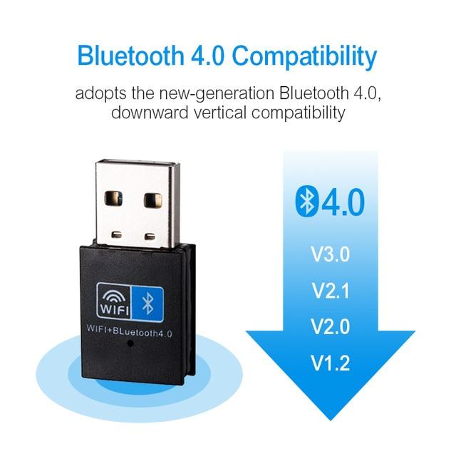 Sans fil WiFi Bluetooth adaptateur 150Mbps USB WiFi adaptateur récepteur 2.4G Bluetooth V4.0 carte réseau émetteur IEEE 802.11b/g/n 5
