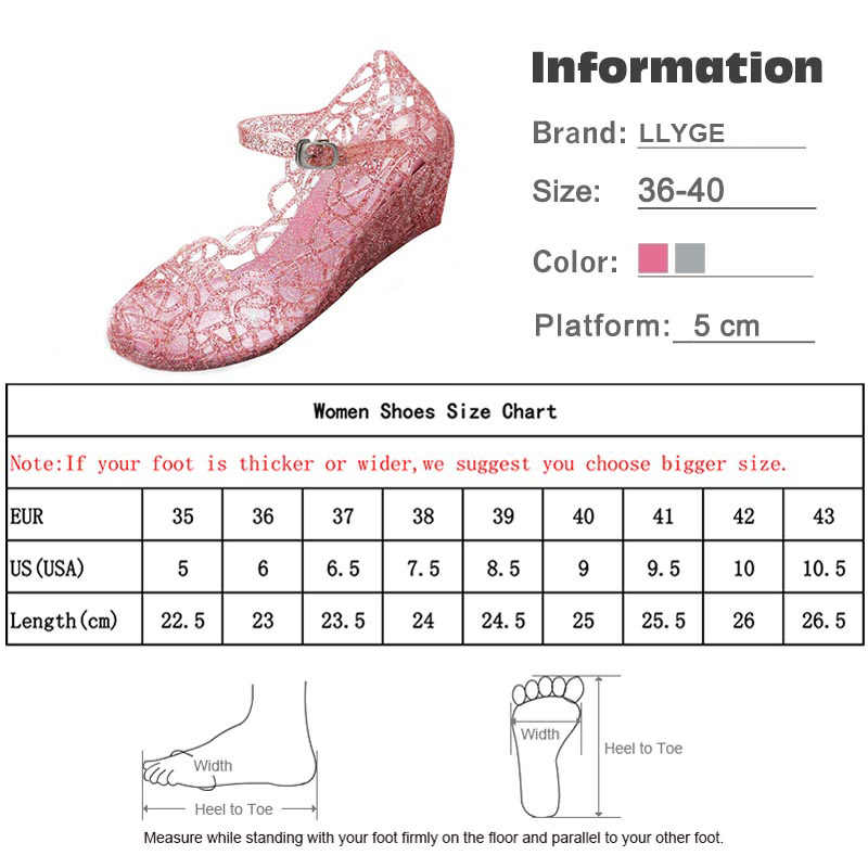 88f401cdec50 ... Women Wedge Jelly Shoes Summer Sandals 2019 New Ladies Buckle Strap  Hollow Out High Heels Female