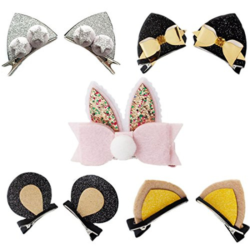 Cute Glitter Cat Rabbit Ear Hair Clips For kids Cartoon Bow Hairpin Girls Hairband Baby   Headwear   Hairpins Kids Hair Accessories