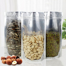 100pcs Stand up Clear Aluminium Foil Zip Lock Bag Silvery Metallic Plastic Packaging Pouch for Food Tea Candy Snack Storage Bags o ring zip up metallic skirt
