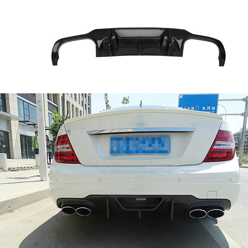 V style W204 C63 Carbon Fiber rear bumper diffuser lip spoiler For Mercedes Benz W204 C63
