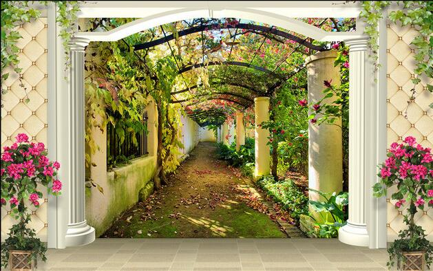 3d Wallpaper Custom Mural Non Woven Wall Stickers 3 D Garden Aisle  Background Wall Paintings