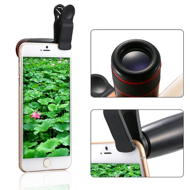 5in1 12X Zoom Camera Telephoto Lens Phone Telescope 3in1 Clip on Lens Kit Wide Angle Fish Eye Macro for iPhone Samsung 12X5in1 1