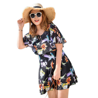 2018 Flower Print Swim Dress Large Size Big Cup Modest Swimsuit Swimwear Comfortable Blue Black Flounced