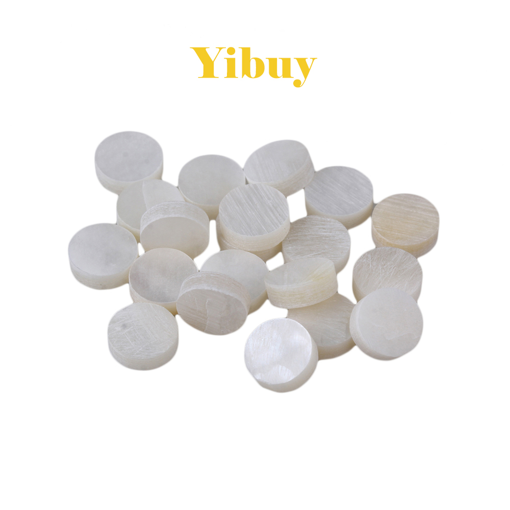 Yibuy 6mm White Mother of Pearl Shell Fingerboard Dots with Inlay Material For Guitar Pack of 20 environmentally friendly pvc inflatable shell water floating row of a variety of swimming pearl shell swimming ring