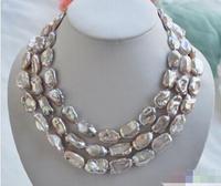 Ücretsiz kargo sıcak satış Kadınlar Düğün Gelin Takı>> siyah İnci 15 strand gri Hakiki deri kordon necklace19-23