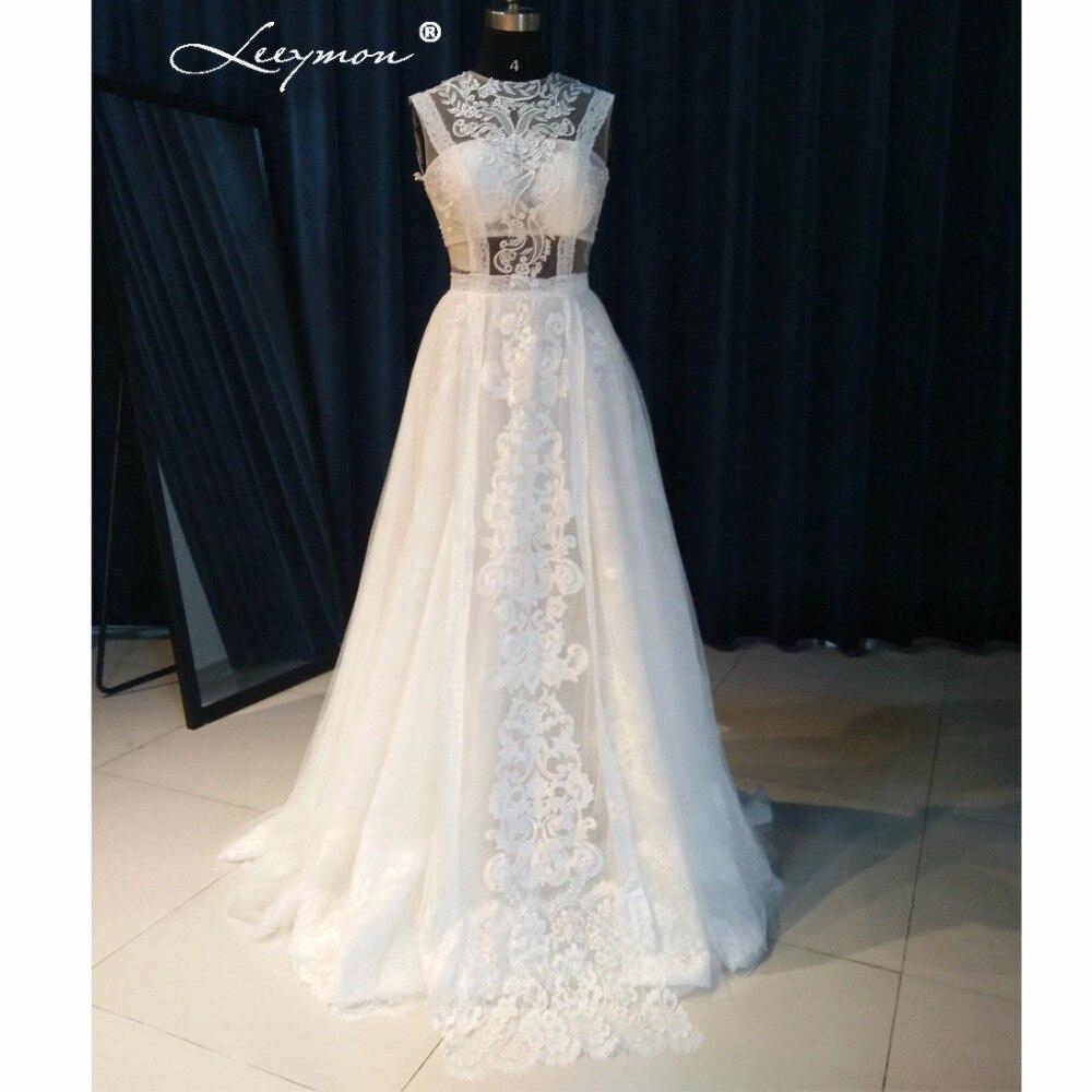 Leeymon Sleeveless Bohemian Bridal Dress Sexy Lace Boho Wedding Dress A line Beach Wedding Dress LY7289
