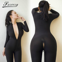 2017 New Sexy Lingerie For Women Open Crotch Black Striped Sheer Bodystocking Bodysuit Smooth Fiber Double