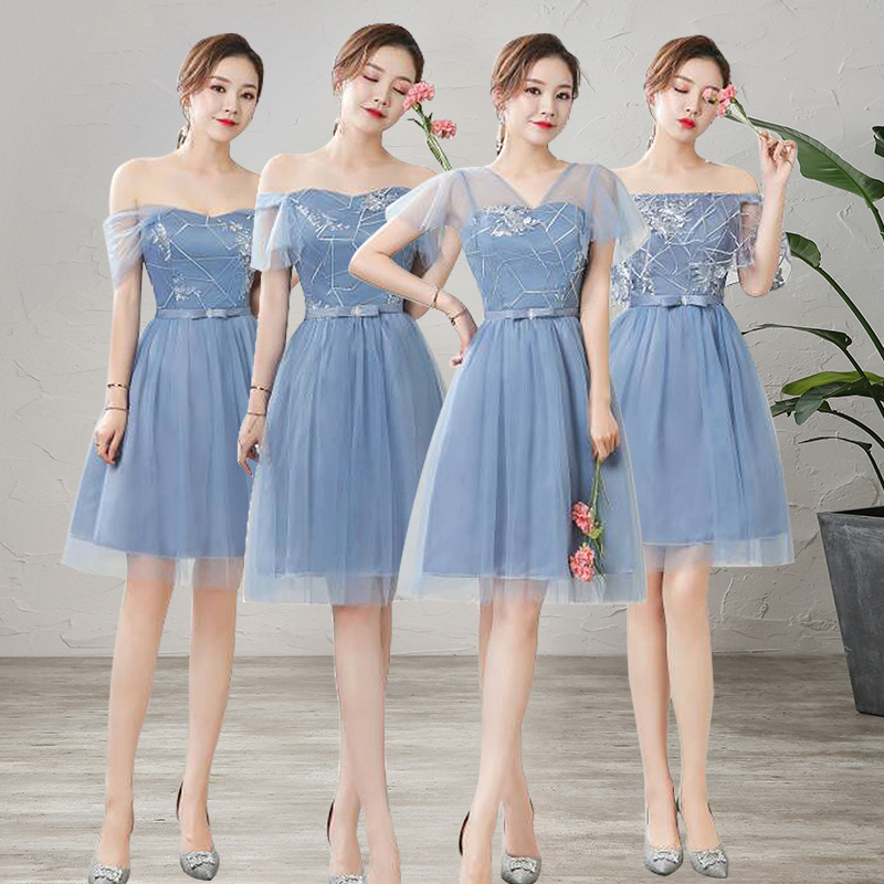 Short Bridesmaid Dress Elegant Women For Wedding Party Embroidery Tulle Junior Sexy Plus Size New Years Eve Dress Formal Prom