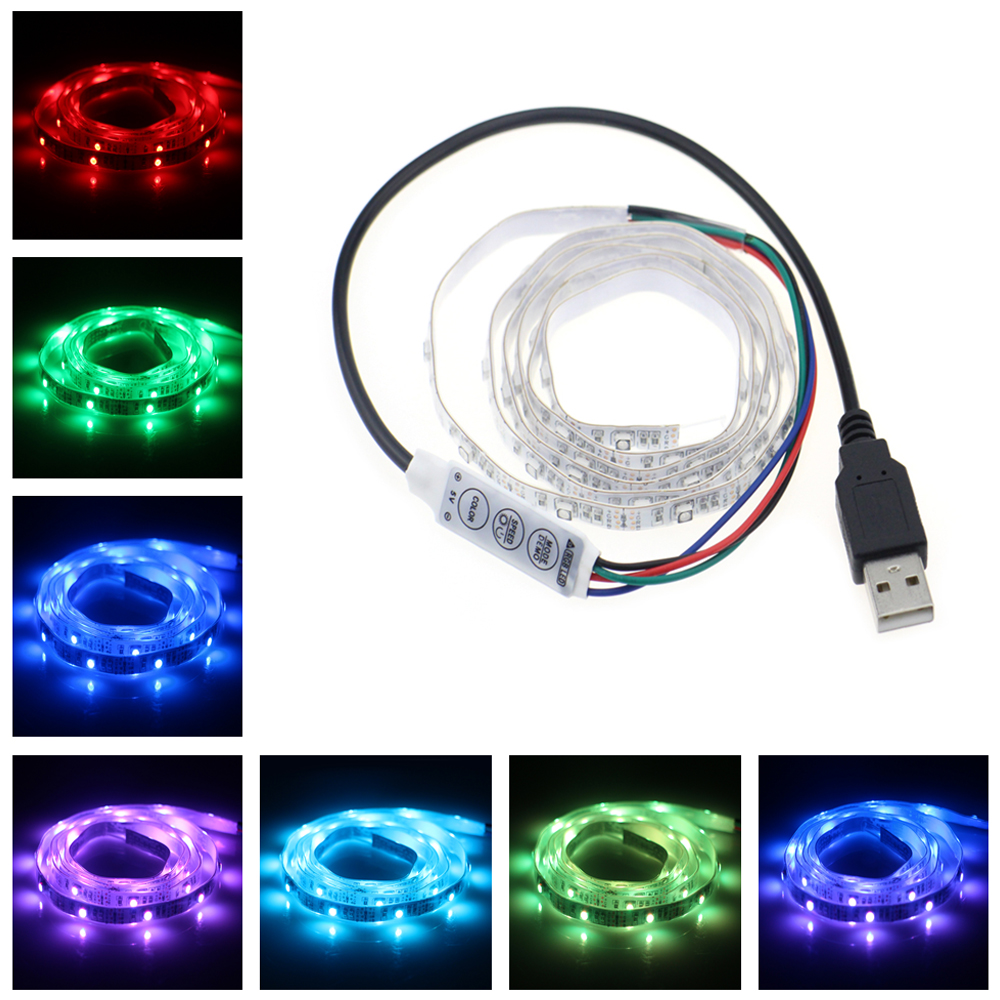 USB 5V 1m 40leds SMD 3528 LED Strip Flexible RGB Color Changing LED Lights with 3 key Mini Controller