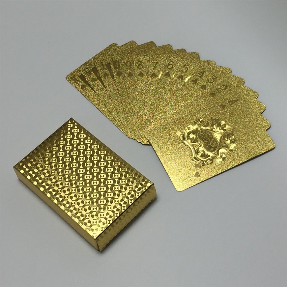 Durable Waterproof Gold Foil Plated Playing Cards Set 54pcs Deck Poker Classic Magic Tricks Tool Magic Box-packed High Quality image