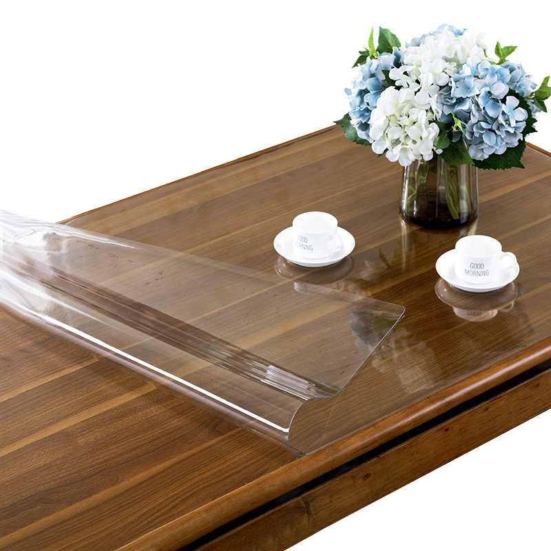 IHAD PVC Waterproof Tablecloth Transparent with Pattern Kitchen Table Cover Oilproof Cloth Soft Glossy Glass Tablecloth