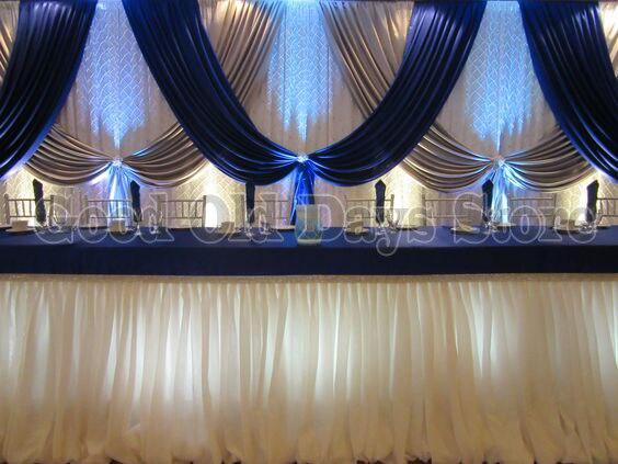 10ft x 20ft Azul Royal Prata Com Branco Contexto Do Casamento Cortina de Fundo Do Casamento Decoração Do Partido