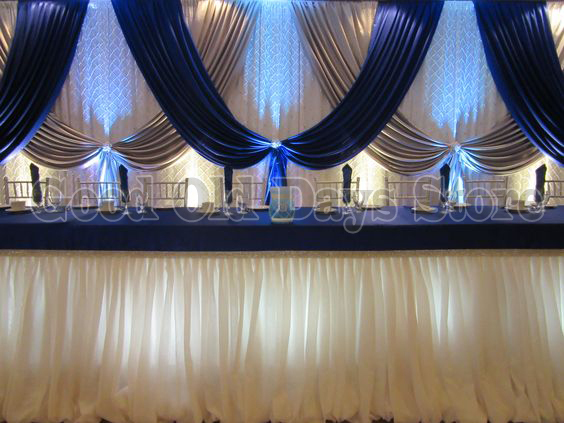 10ft X 20ft Royal Blue Silver With White Wedding Backdrop Wedding