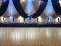 10ft x 20ft Royal Blue Silver With White Wedding Backdrop Wedding Background Curtain Party Decoration