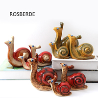 3 pc/lote Caracol Família miniaturas figuras de Cerâmica artesanato decoração de casa decoração do jardim por atacado presente de casamento presente de aniversário D002
