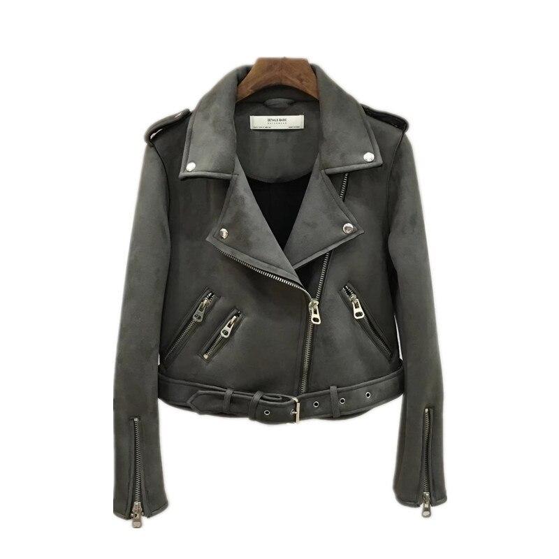 S-XL New Arrial Women Autumn Winter   Suede   Faux   Leather   Jackets Lady Fashion Matte Motorcycle Coat Biker Gray Pink Beige Outwear