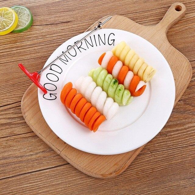 Arsmundi kitchen accessories gadget Stainless Creative Scroll vegetable Cutter fruit Vegetable Spiral knife kitchen gadgets 2
