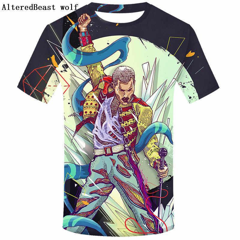 2019 Men 3D Rock QUEEN Men's T-shirt Fashion Harajuku QUEEN Brand Men T Shirt Casual Short Sleeve T Shirts homme