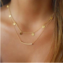 Double water droplets necklace 2017 fashion jewelry big with the street style fashion classic sequins multi-layer necklac