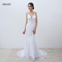 JIERUIZE White Lace Mermaid Wedding Dresses 2017 Spaghetti Straps Backless Beach Wedding Gowns Vestidos De Novia