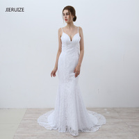 JIERUIZE White Lace Mermaid Wedding Dresses 2017 Spaghetti Straps Backless Beach Wedding Gowns Vestidos De Novia