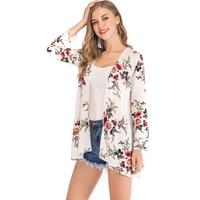 FLORATA Plus Size Fashion Women Floral Loose Shawl Vintage Kimono Cardigan Boho Chiffon Coat Jacket Blouse Shirts 2018 New Style