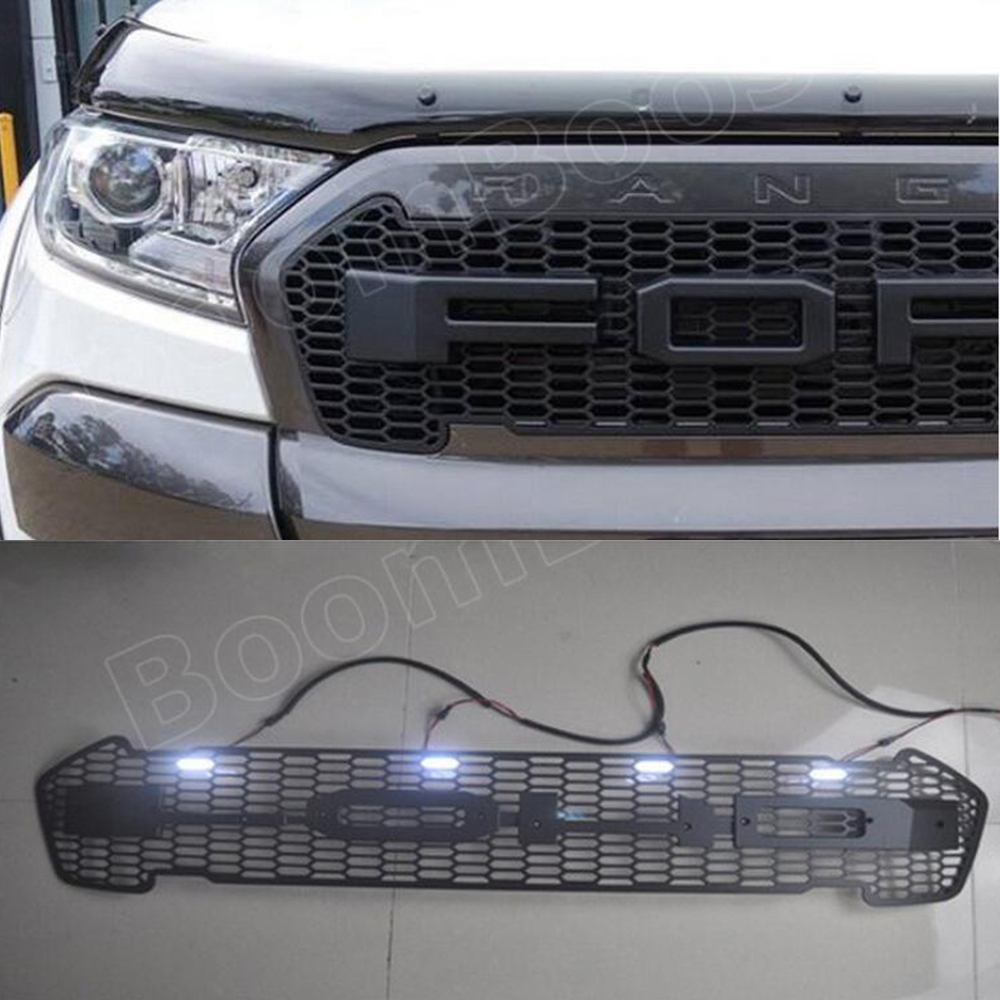 Car styling 4 colors For F/ord R/anger T7 2016-2017 front Grille LED Emblem logo light ABS decorative grill lamp