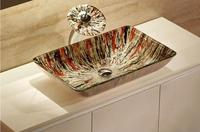 Bathroom Rectangular Tempered Glass Above Counter Wash Basin Cloakroom Counter Top Vessel Sink HX9004