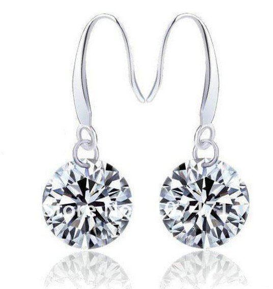 Hotsales simple hearts and arrows shining swiss diamond silver earrings 20 set/lot free shipping