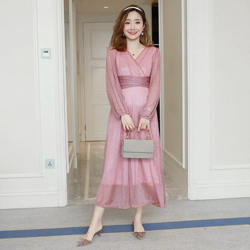 2019 New Fashion Elegant Women Spring Summer Nursing Dress Long Sleeve Mesh Breastfeeding Dress V-neck Party Wedding Dress