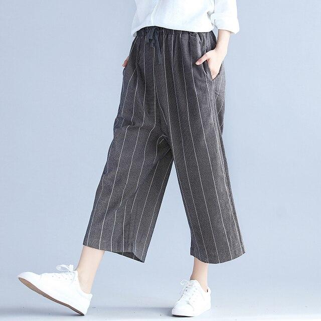 d62e78bc4e Primavera Verano 2017 Nuevo casual Stripe algodón y lino anchos Pantalones  cintura elástico coreana Palazzo Pantalones
