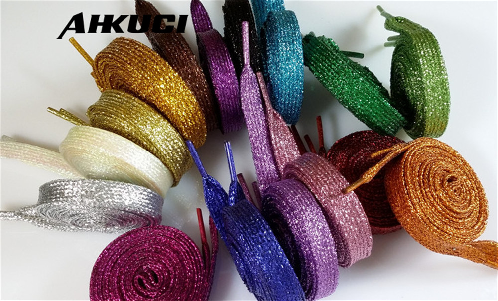 1 Pair Shiny Design Flat shoe lace design shoe lace shiny colors Multi color shoelaces