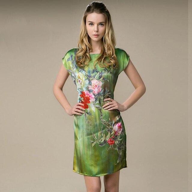 a08abf0ec37b6 100% soie droite robe naturelle Pure soie femmes robe été nouveau Desigual  Charmeuse Satin robe