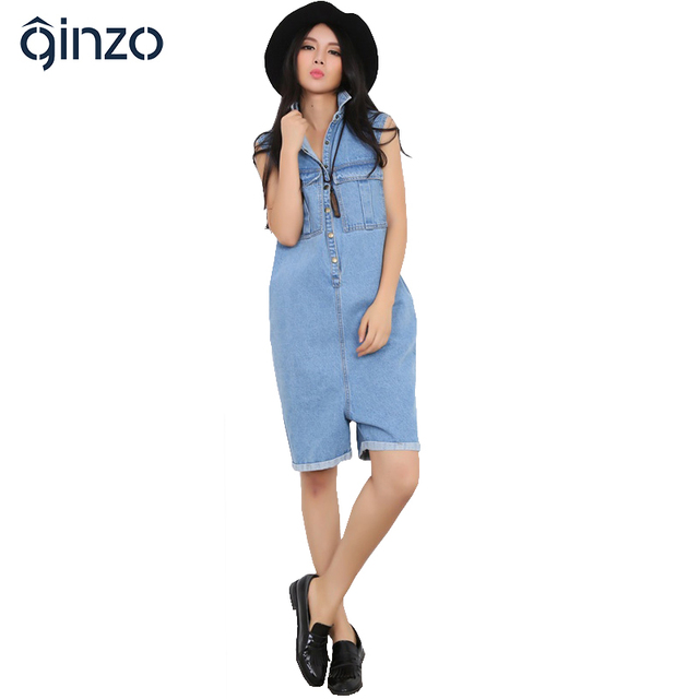 Women's loose large size short playsuits Casual pockets straight Capri Cotton denim jeans Jumpsuits Rompers