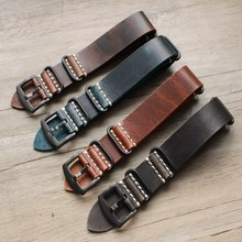 New High Quality Vintage Genuine Oil wax Leather Nato watch Strap for Military