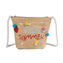 Fashion Lady Shoulder Bag Embroidered Letter Small Hair Ball Weaving Straw Wild Fresh Messenger Summer Bags