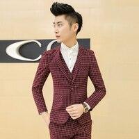 Modo libero di trasporto Coreano mens suits large size plaid 3-piece set suit terno masculino nozze sposa s 'menswear costume homme