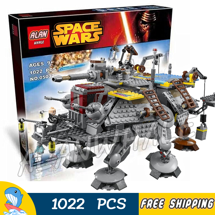 1022pcs New Space Wars Universe Captain Rex's AT-TE Tanks 05032 Model Building Blocks Assemble Toys Bricks Compatible with Lego 499pcs new space wars at dp robots 10376 model building blocks toys gift rebels animated tv series bricks compatible with lego