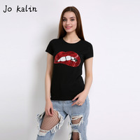 Hot Sale 2016 T Shirts For Women Summer Short Sleeve Sequin Red Lips Tshirt Ladies Fitness