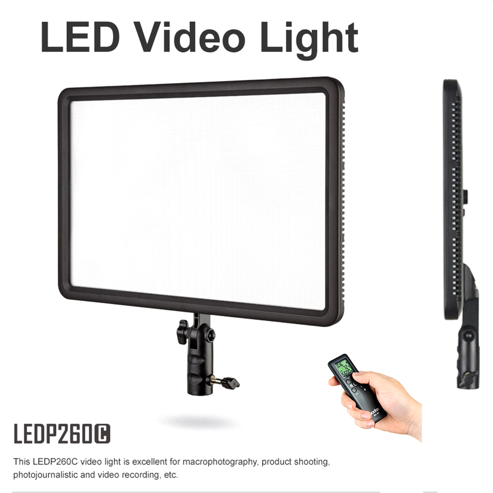 Godox LEDP-260C 30W Ultra Slim Camera LED Video Light Panel Bi-Color 3300K~5600K CRI 95+ with Remote Control + AC Adapter godox led 308y 308 leds professional led video 3300k light with remote control for canon nikon camera dv camcorder