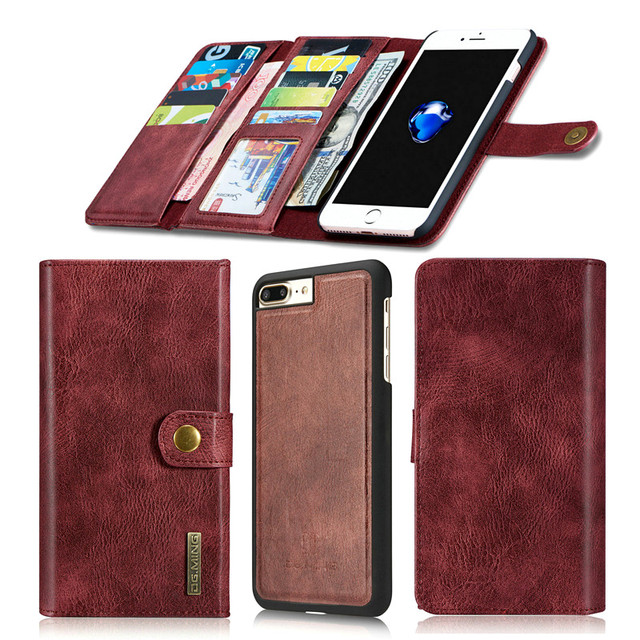 Carteira de luxo estojo de couro genuíno para iphone 7 7 plus saco tampa do telefone para o iphone 6 6 s plus couro do couro caso real cobre