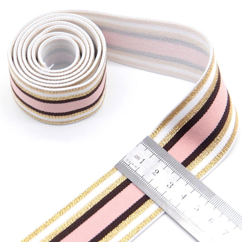4cm Elastic Bands Nylon Pink Glitter Gold Stripe Waist Bands Elastique Couture DIY Garment Underwear Trousers Sewing Accessories