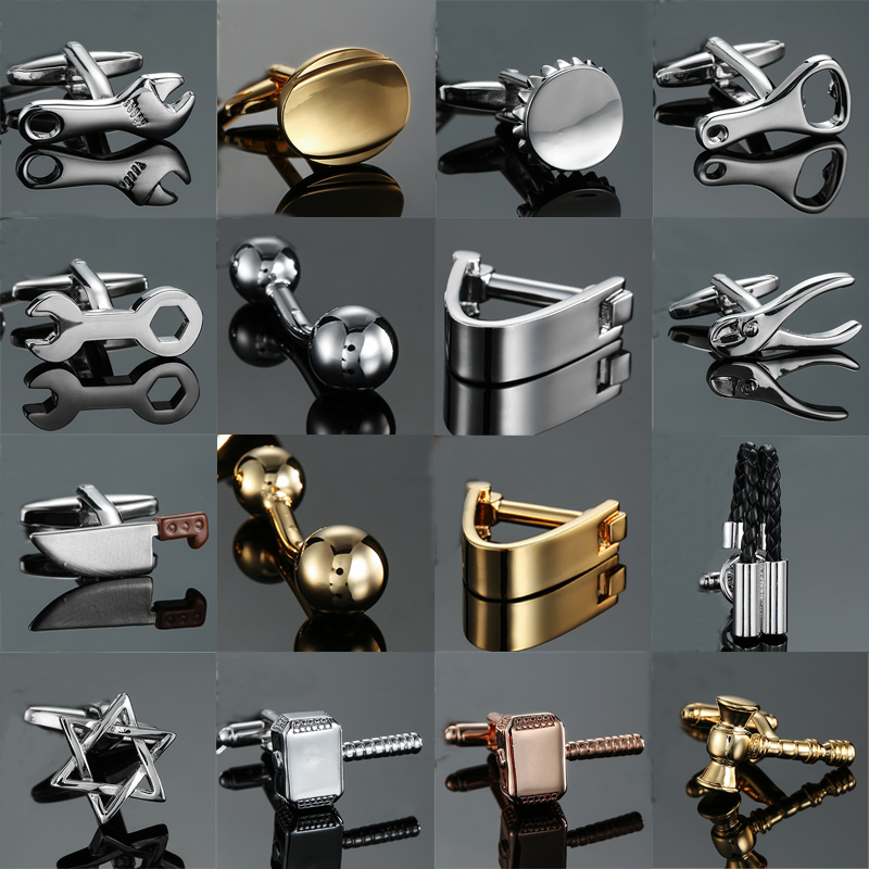 18 style Mix Hotsale Designs Cufflinks simple Stainless steel hammer knife ball Wrench Cuff Links for mans Wedding business gift(China)