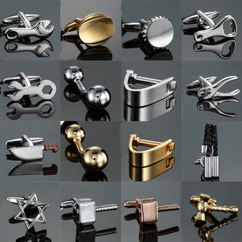 18 style Mix Hotsale Designs Cufflinks simple Stainless steel hammer knife ball Wrench Cuff Links for mans Wedding business gift